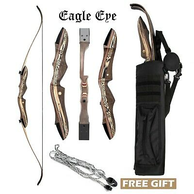 """JEKOSEN Wooden Takedown Archery Recurve Bow 62"""" Hunting Bow Includ Arrows Quiver"""