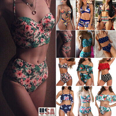 Womens Bikini Set High Waisted Swimsuit Push Up Padded Bra Bathing Suit Swimwear