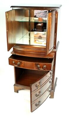 Antique Style Flamed Mahogany Cocktail Drinks Cabinet - FREE Delivery [5346]