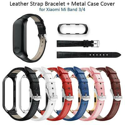 Replacement Leather Wristband Band Strap + Metal Case For Xiaomi Mi Band 3/4 Lot
