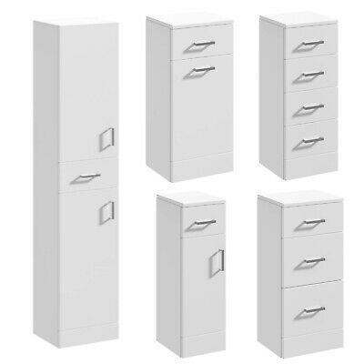 Veebath Linx Bathroom Tallboy Floor Cupboard Gloss White Floor Storage Cabinet