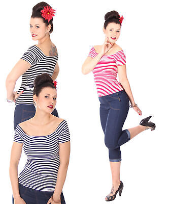 SugarShock 50s retro Pin Up Streifen Sailor V-Neck Shirt