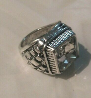EXTREMELY ANTIQUE OLD VINTAGE RARE ETHNIC Silver Crystal Handcraft Quality RING