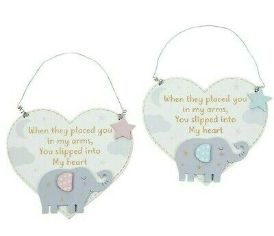 Baby's Wooden Nellie Ellie Hanging Heart Plaque