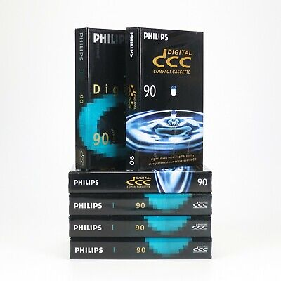 6 x Blank Philips DCC 90 Minutes Digital Compact Cassette - New & Factory Sealed