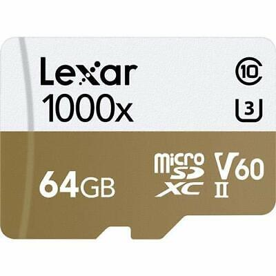 Lexar 64GB Professional 1000x microSDXC UHS-II Memory Card with SD Adapter, Up t