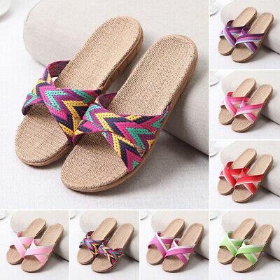 Open Toe Slippers Shoes Casual Linen Home Indoor Sandals Thong Striped