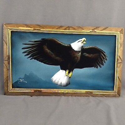 Vintage American Bald Eagle Black Velvet Painting Made In Mexico Framed 23X14 in
