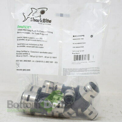 """SharkBite K454WP6 EvoPEX 3/4""""x1/2""""x1/2"""" Bag Of 6 Push To Connect Reducing Tee"""