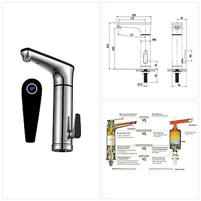 Electric Heated Instant Hot Water Tap -LCD Display Electric Sink Mixer Hand Wash