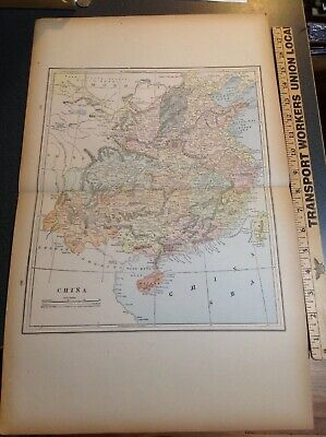 2509 Original Vintage Antique Map 1892 China Indian Empire Egypt Arabia