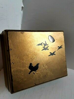 Antique Japanese Oriental Gold Lacquer Snuff Box Pot Meiji 19th Century