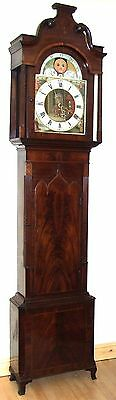 Antique Inlaid Mahogany Moon Phase Longcase Grandfather Clock FURNIVAL OLDHAM
