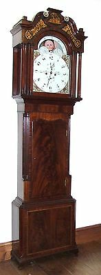 Antique Mahogany Rolling Moon Longcase Grandfather Clock : Johnson & Co PRESCOT
