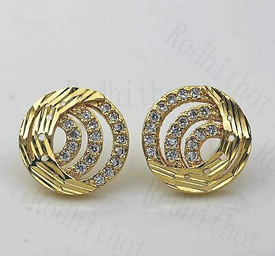 18K Gold Filled Earring Crescent Semicircle Hollow Round Luxury Ear Stud Lady DS