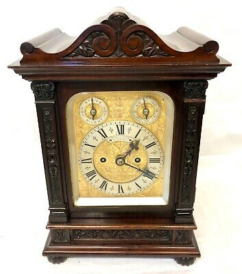 Russell's Liverpool Antique Red Walnut DOUBLE FUSEE Strike Bracket Mantel Clock