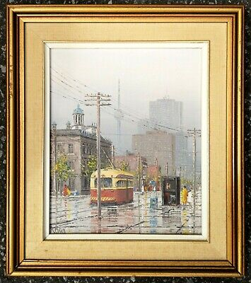 Rare listed Canadian King Street Toronto Ontario impressionist oil painting!