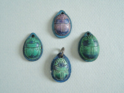 Four Compton Pottery Arts & Crafts Scarab Beetle Pendants