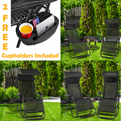Zero Gravity Folding Sun Lounger Garden Chairs Deck Set Outdoor Adjustable