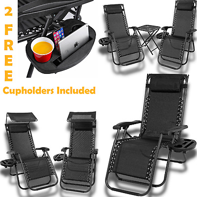 Zero Gravity Folding Sun Lounger New Garden Chairs Deck Set Outdoor Adjustable