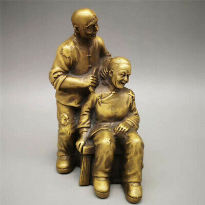 Collection old Chinese pure copper Hand-made Two old people statue