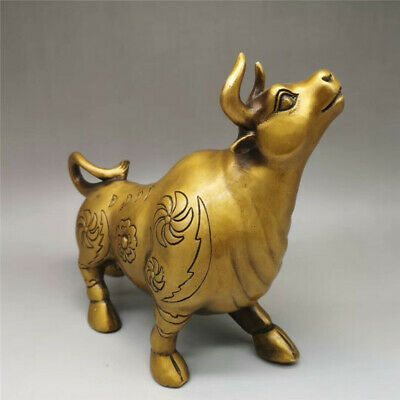 Collection old Chinese pure copper Hand-made Zodiac Cattle statue
