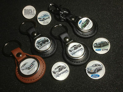 Ford  Leather Key Rings & Silver Plated Badges & Free Ford Sticker/  Seconds
