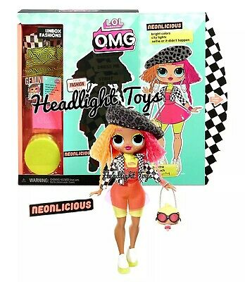 """In Hand 1 LOL Surprise OMG NEONLICIOUS 10"""" Fashion Doll Big Sister Neon QT"""