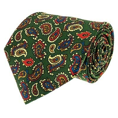 e6f6da3271f7c8 ATKINSONS Mens Tie Vintage 100% Silk Green Multicoloured Paisley Design