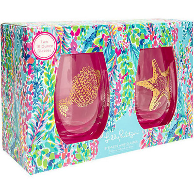 Lilly Pulitzer NWT Stemless Wine Glasses Catch The Wave $48 16 oz