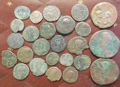 Lot of 25 Ancient Romans Coins Largest 32 mm All have details! Claudius Minerva!