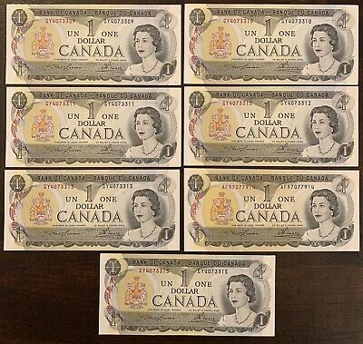 1973 - 7 Consecutive Canadian One Dollar Banknote, 1$ - Bank Of Canada