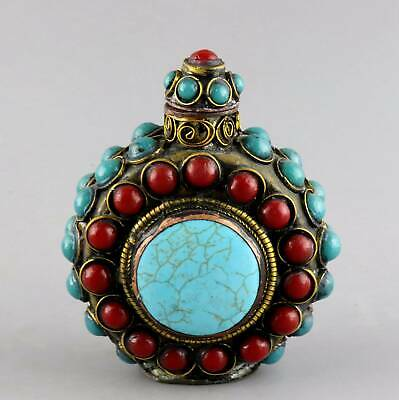 China Collect Rare Antique Bronze Inlay Turquoise Hand Carve Noble Snuff Bottle