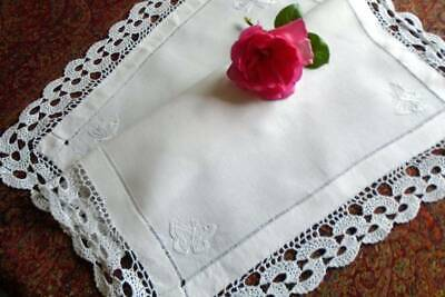Antique Hand Embroidered Irish Linen ~Crochet Lace Tray Cloth~ Butterflies