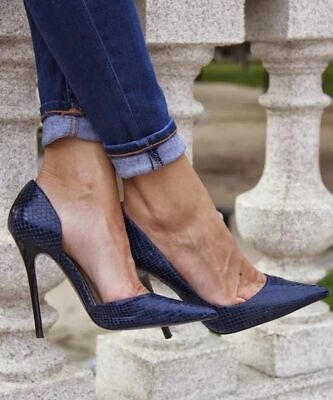 665f61d7e018 Zara Navy Blue Snakeskin Leather D'orsay High Heel Asymmetric Shoes 38 Us7.5