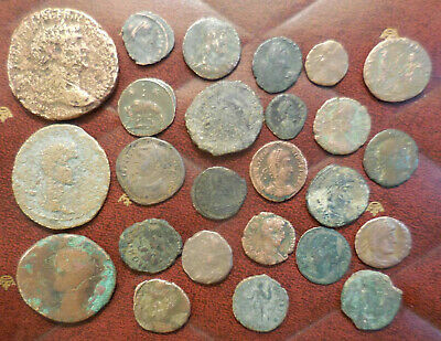 Lot of 25 Ancient Romans Coins Largest 31 mm All have details! Trajan Sestertius