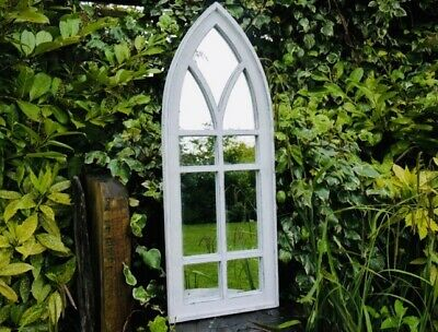Shabby French Country Chic Wall White Wooden Arched Rustic Mirror Home decor