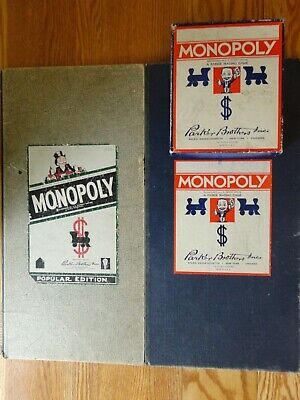 Vintage 1940's MONOPOLY BOARD GAME w/ 2 Boards Box Wood Pieces Parker Brothers