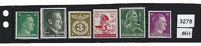 Stamp set #3278 / Third Reich era / Hitler - Swastika / Stamps MH / WWII Germany