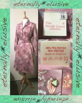Vintage NICOLE LEWIS Pink Paisley Mod Scooter Belted ALine Midi Dress Size 16 44