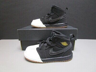 61d52c1949772 JORDAN 1 MID BT Baby Toddler Shoes Black/ Grey/Black 640735-050 Sz4C ...