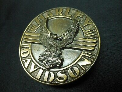 Vintage 1992 Harley Davidson Belt Buckle Eagle Wings Bar Shield Siskiyou Harmony