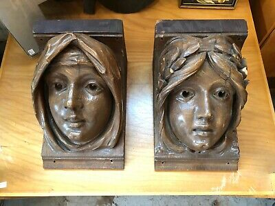 Pair of Carved Oak Arts & Crafts Corbels Renaissance Revival Architectural