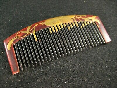 ANTIQUE JAPANESE  c.1870 LACQUER WOODEN KANZASHI HAIR PIECE COMB LILY FLOWER