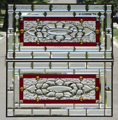"""•Dynamic Duo •2 Beveled Stained Glass Panels • each 29 1/2"""" x 15 1/2"""""""