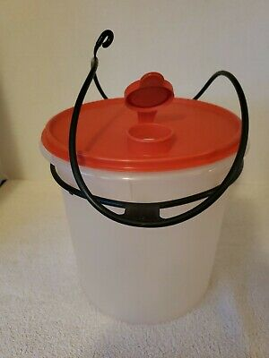 Tupperware Jumbo Canister #254 sheer with red Pour-All-Spout #565