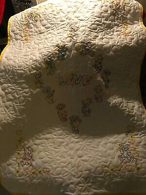 Hand Embroidered One Of A Kind Baby Quilt