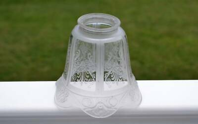 "Antique Gas Lamp Shade 2 1/8"" Fitter Oil Electric 6 Panel Frosted"
