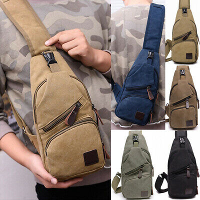 Men's Canvas Crossbody Pack Sling Chest Bag Travel Backpack Casual Shoulde Bags