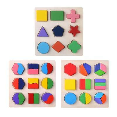 Wood Geometric Shapes Sorting Math Montessori Puzzle Kids Educational Toys H1